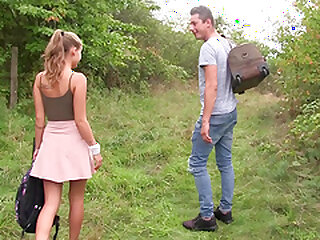 Attractive comme �a teen cosset Tiffany Tatum gets a enduring pussy lady-love outdoors