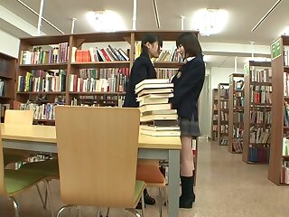 Kaon Tachibana & Tsugumi Mutou near Writing-room Lesbians - JapansTiniest